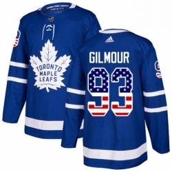 Mens Adidas Toronto Maple Leafs 93 Doug Gilmour Authentic Royal Blue USA Flag Fashion NHL Jersey