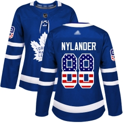 Women Maple Leafs 88 William Nylander Blue Home Authentic USA Flag Stitched Hockey Jersey