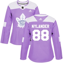 Women Maple Leafs 88 William Nylander Purple Authentic Fights Cancer Stitched Hockey Jersey