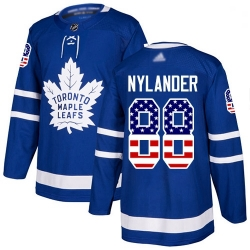 Youth Maple Leafs 88 William Nylander Blue Home Authentic USA Flag Stitched Hockey Jersey