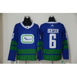 Canucks 6 Brock Boeser Blue Alternate Authentic Stitched Hockey Jersey