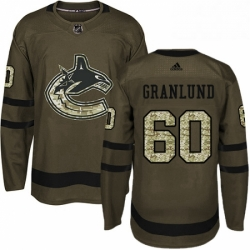 Mens Adidas Vancouver Canucks 60 Markus Granlund Premier Green Salute to Service NHL Jersey
