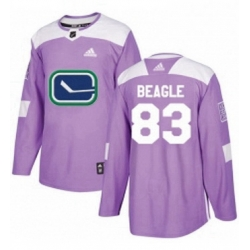 Mens Adidas Vancouver Canucks 83 Jay Beagle Authentic Purple Fights Cancer Practice NHL Jersey