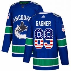 Mens Adidas Vancouver Canucks 89 Sam Gagner Authentic Blue USA Flag Fashion NHL Jersey