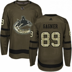 Mens Adidas Vancouver Canucks 89 Sam Gagner Authentic Green Salute to Service NHL Jersey