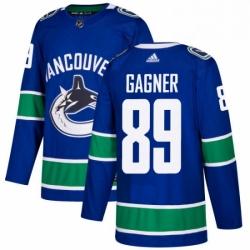 Mens Adidas Vancouver Canucks 89 Sam Gagner Premier Blue Home NHL Jersey