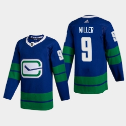 Vancouver Canucks 9 JT Miller Men Adidas 2020 21 Authentic Player Alternate Stitched NHL Jersey Blue