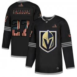 Men Vegas Golden Knights 27 Shea Theodore Black USA Flag Fashion Adidas Jersey