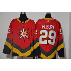 Men Vegas Golden Knights 29 Marc Andre Fleury Red 2020 21 Reverse Retro Adidas Jersey