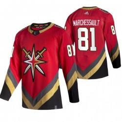 Men Vegas Golden Knights 81 Jonathan Marchessault Red Adidas 2020 21 Reverse Retro Alternate NHL Jersey