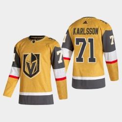 Vegas Golden Knights 71 William Karlsson Men Adidas 2020 21 Authentic Player Alternate Stitched NHL Jersey Gold
