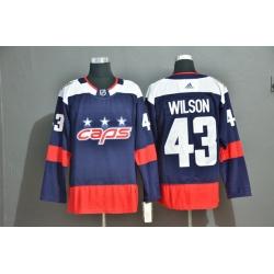 Men Washington Capitals 43 Tom Wilson Navy Adidas Jersey