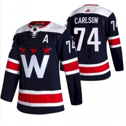 Men Washington Capitals 74 John Carlson NEW Navy Blue Stitched NHL Jersey