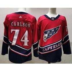Men Washington Capitals 74 John Carlson Red 2020 21 Reverse Retro Adidas Jersey