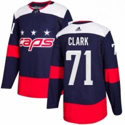 Mens Adidas Washington Capitals 71 Kody Clark Authentic Navy Blue 2018 Stadium Series NHL Jerse