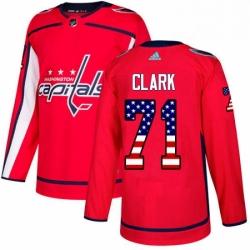 Mens Adidas Washington Capitals 71 Kody Clark Authentic Red USA Flag Fashion NHL Jersey