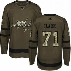 Mens Adidas Washington Capitals 71 Kody Clark Premier Green Salute to Service NHL Jersey