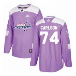 Mens Adidas Washington Capitals 74 John Carlson Authentic Purple Fights Cancer Practice NHL Jersey