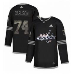 Mens Adidas Washington Capitals 74 John Carlson Black 1 Authentic Classic Stitched NHL Jersey
