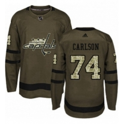 Mens Adidas Washington Capitals 74 John Carlson Premier Green Salute to Service NHL Jersey