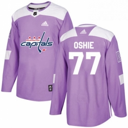 Mens Adidas Washington Capitals 77 TJ Oshie Authentic Purple Fights Cancer Practice NHL Jersey