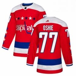 Mens Adidas Washington Capitals 77 TJ Oshie Authentic Red Alternate NHL Jersey