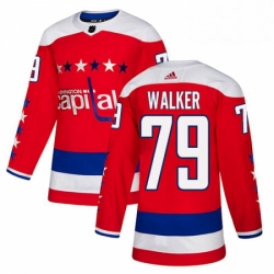 Mens Adidas Washington Capitals 79 Nathan Walker Authentic Red Alternate NHL Jersey