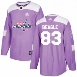 Mens Adidas Washington Capitals 83 Jay Beagle Authentic Purple Fights Cancer Practice NHL Jersey