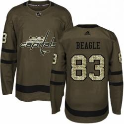 Mens Adidas Washington Capitals 83 Jay Beagle Premier Green Salute to Service NHL Jersey