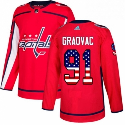 Mens Adidas Washington Capitals 91 Tyler Graovac Authentic Red USA Flag Fashion NHL Jersey