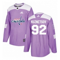 Mens Adidas Washington Capitals 92 Evgeny Kuznetsov Authentic Purple Fights Cancer Practice NHL Jersey