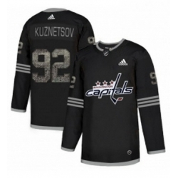 Mens Adidas Washington Capitals 92 Evgeny Kuznetsov Black 1 Authentic Classic Stitched NHL Jersey