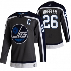 Men Winnipeg Jets 26 Blake Wheeler Black Adidas 2020 21 Reverse Retro Alternate NHL Jersey