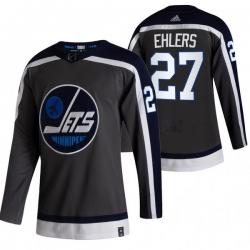 Men Winnipeg Jets 27 Nikolaj Ehlers Black Adidas 2020 21 Reverse Retro Alternate NHL Jersey