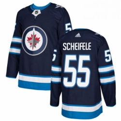 Mens Adidas Winnipeg Jets 55 Mark Scheifele Premier Navy Blue Home NHL Jersey
