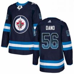 Mens Adidas Winnipeg Jets 56 Marko Dano Authentic Navy Blue Drift Fashion NHL Jersey