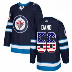 Mens Adidas Winnipeg Jets 56 Marko Dano Authentic Navy Blue USA Flag Fashion NHL Jersey