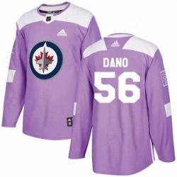 Mens Adidas Winnipeg Jets 56 Marko Dano Authentic Purple Fights Cancer Practice NHL Jersey