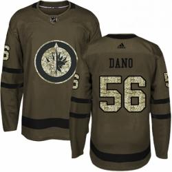 Mens Adidas Winnipeg Jets 56 Marko Dano Premier Green Salute to Service NHL Jersey