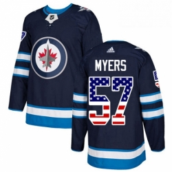 Mens Adidas Winnipeg Jets 57 Tyler Myers Authentic Navy Blue USA Flag Fashion NHL Jersey
