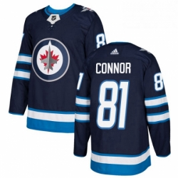 Mens Adidas Winnipeg Jets 81 Kyle Connor Authentic Navy Blue Home NHL Jersey