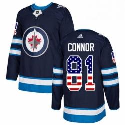 Mens Adidas Winnipeg Jets 81 Kyle Connor Authentic Navy Blue USA Flag Fashion NHL Jersey