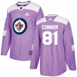 Mens Adidas Winnipeg Jets 81 Kyle Connor Authentic Purple Fights Cancer Practice NHL Jersey