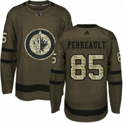 Mens Adidas Winnipeg Jets 85 Mathieu Perreault Authentic Green Salute to Service NHL Jersey