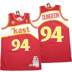 Men Atlanta Hawks 94 DUNGEON Red Throwback Jerseys