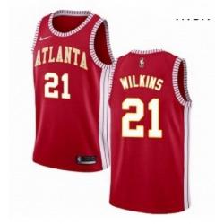 Mens Nike Atlanta Hawks 21 Dominique Wilkins Swingman Red NBA Jersey Statement Edition