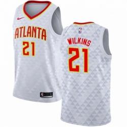 Mens Nike Atlanta Hawks 21 Dominique Wilkins Swingman White NBA Jersey Association Edition