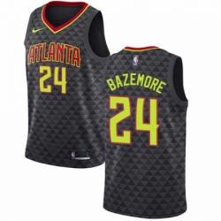 Mens Nike Atlanta Hawks 24 Kent Bazemore Authentic Black Road NBA Jersey Icon Edition