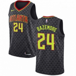 Mens Nike Atlanta Hawks 24 Kent Bazemore Swingman Black Road NBA Jersey Icon Edition
