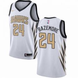 Mens Nike Atlanta Hawks 24 Kent Bazemore Swingman White NBA Jersey City Edition